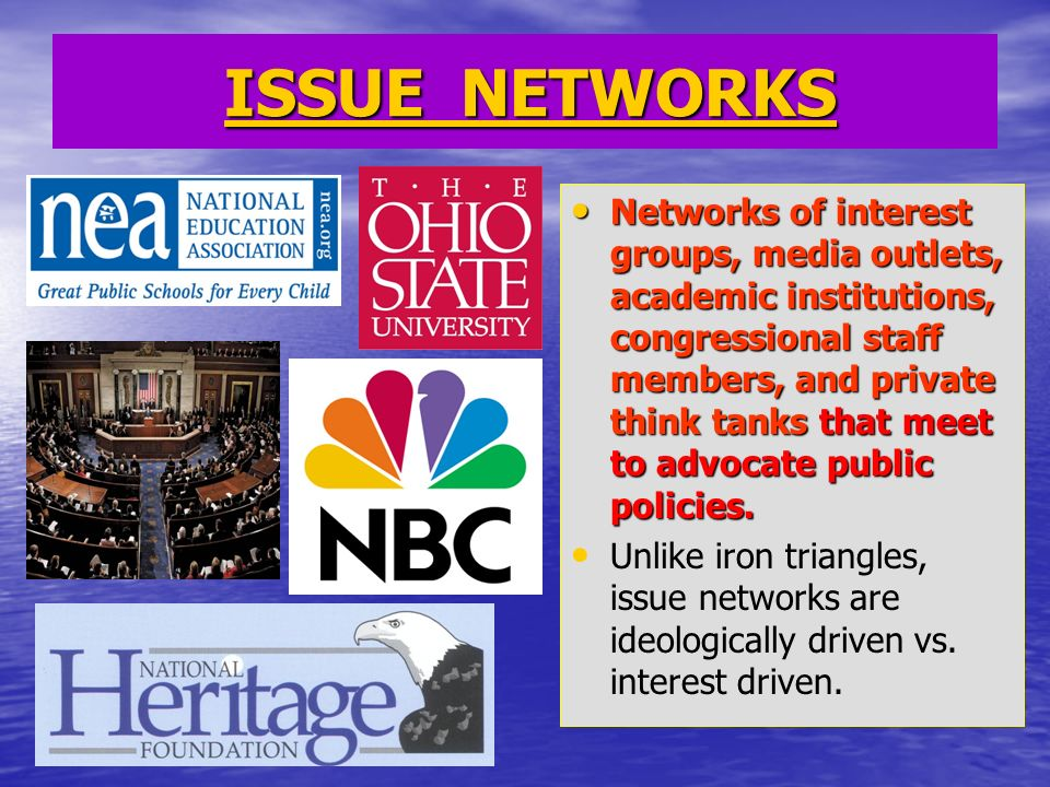 ISSUE NETWORKS ISSUE NETWORKS Networks of interest groups, media outlets, academic institutions, congressional staff members, and private think tanks that meet to advocate public policies.