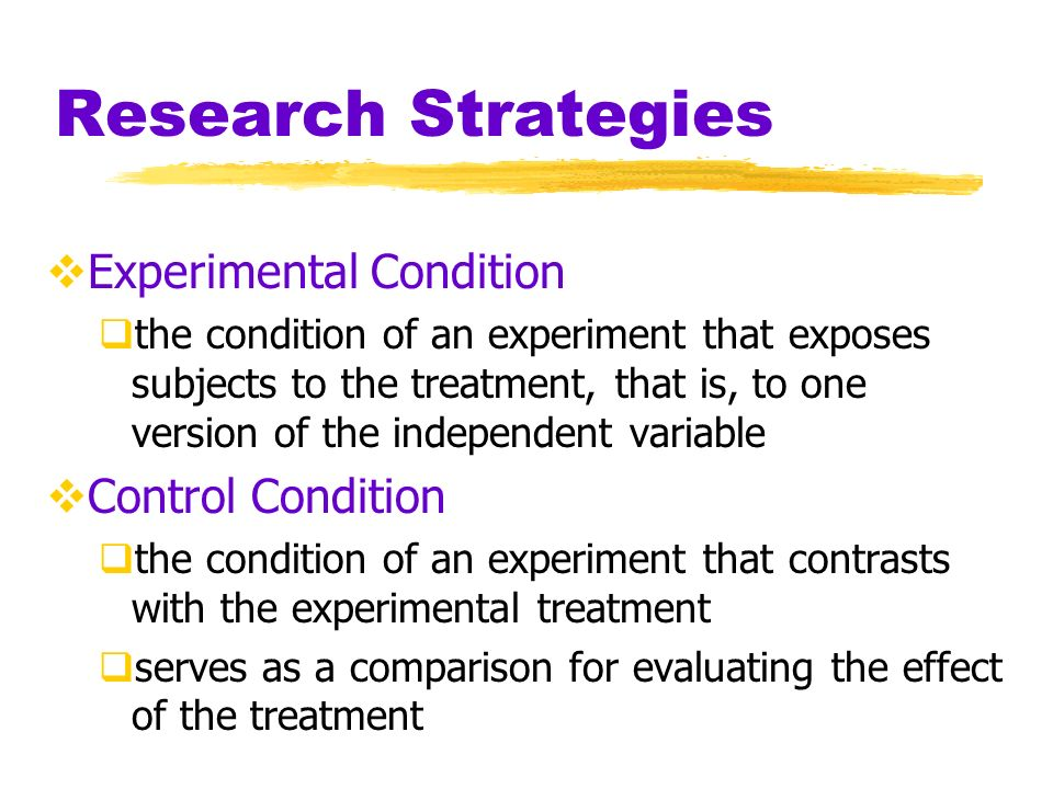Research Strategies Random Assignment assigning subjects to experimental and control conditions by chance minimizes pre-existing differences between those assigned to the different groups
