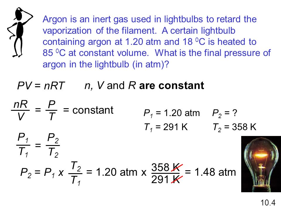 Argon is an inert gas used in lightbulbs to retard the vaporization of the filament. A certain lightbulb containing argon at 1.20 atm and 18 0 C is he