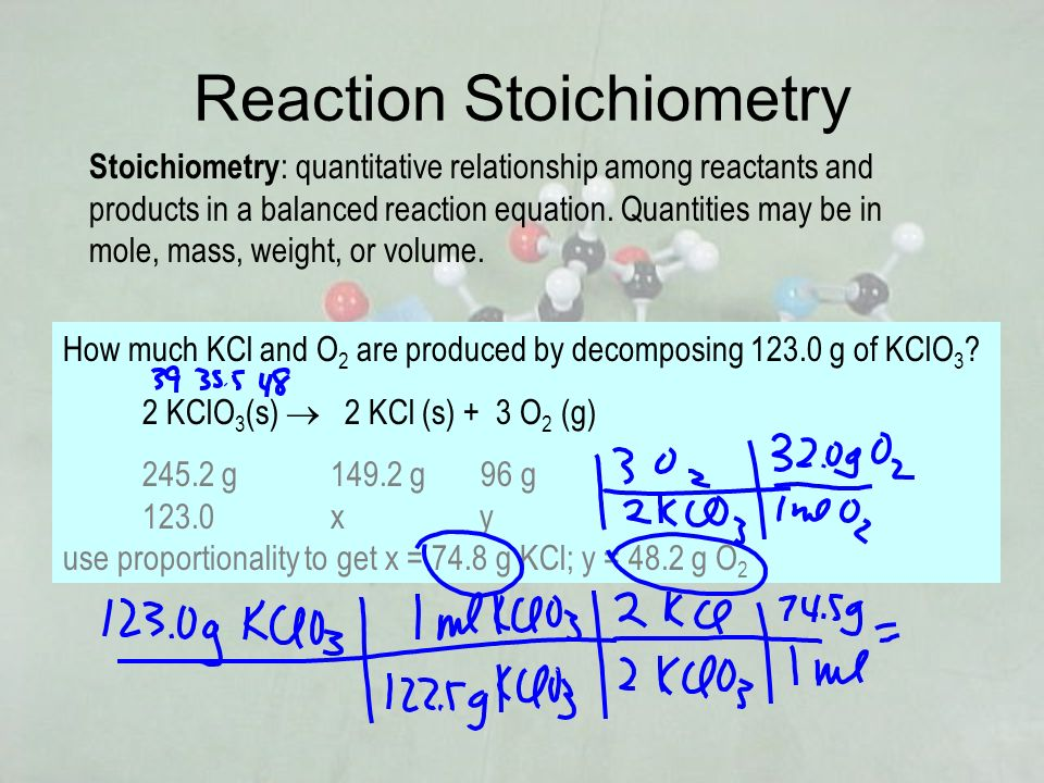 Reaction Stoichiometry Stoichiometry : quantitative relationship among reactants and products in a balanced reaction equation. Quantities may be in mo