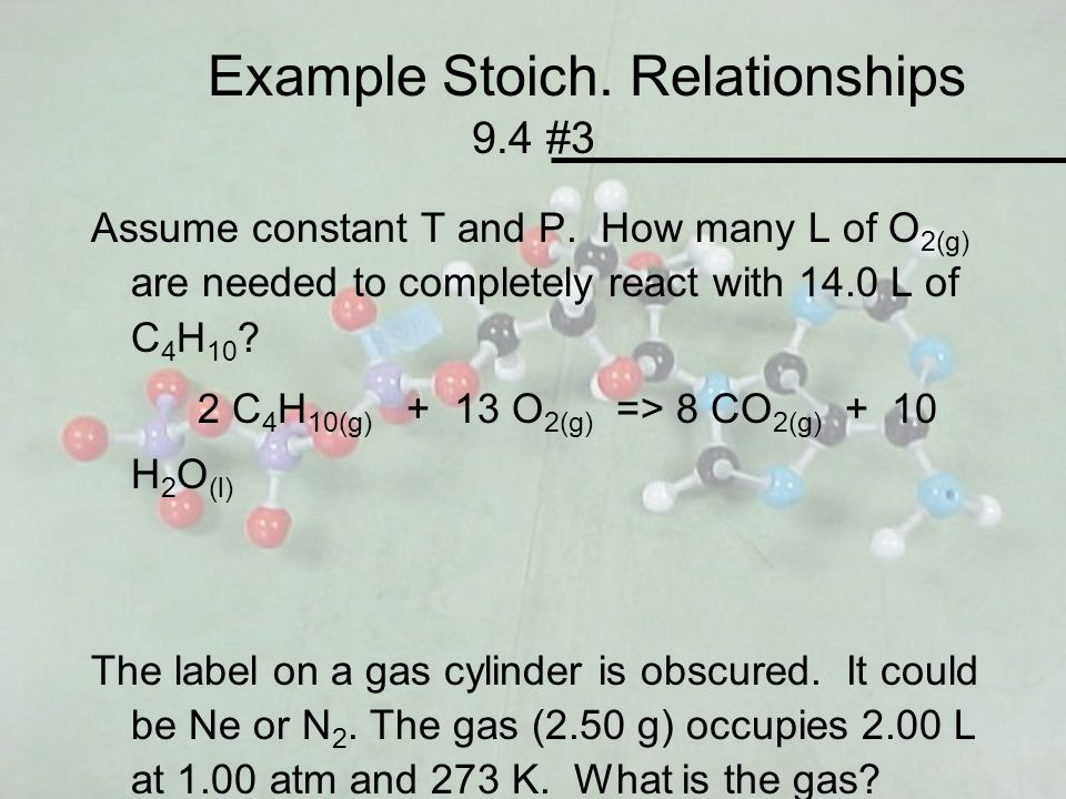 Example Stoich. Relationships 9.4 #3 Assume constant T and P. How many L of O 2(g) are needed to completely react with 14.0 L of C 4 H 10 ? 2 C 4 H 10
