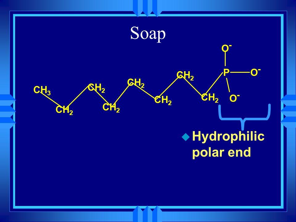 Soap u Hydrophilic polar end PO-O- CH 3 CH 2 O-O- O-O-