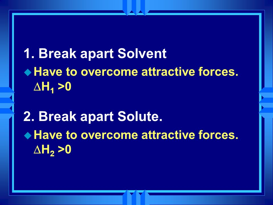 1. Break apart Solvent Have to overcome attractive forces. H 1 >0 2. Break apart Solute. Have to overcome attractive forces. H 2 >0
