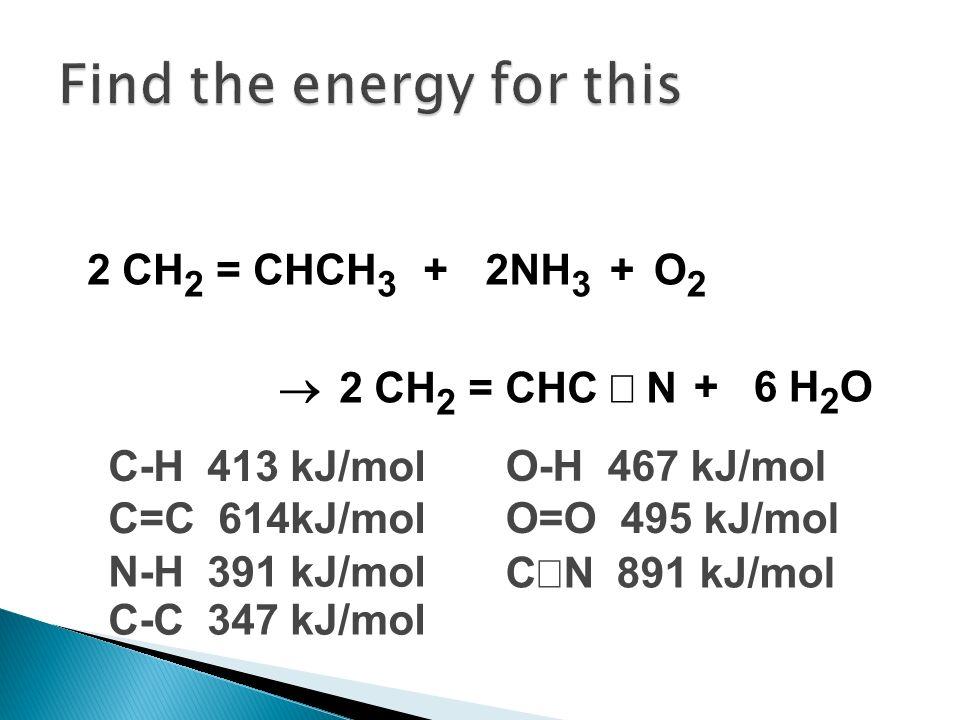 2 CH 2 = CHCH 3 + 2NH 3 O2O2 + 2 CH 2 = CHC N + 6 H 2 O C-H 413 kJ/mol C=C 614kJ/mol N-H 391 kJ/mol O-H 467 kJ/mol O=O 495 kJ/mol C N 891 kJ/mol C-C 3