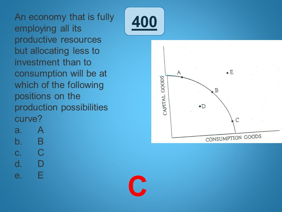 400 An economy that is fully employing all its productive resources but allocating less to investment than to consumption will be at which of the foll