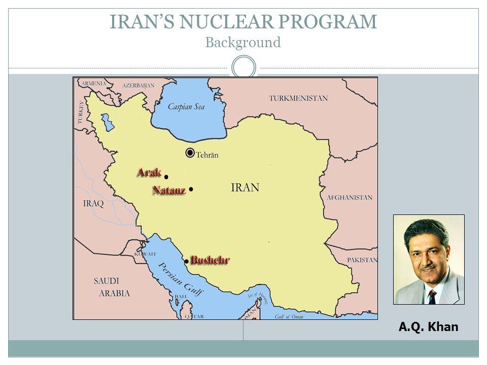 IRANS NUCLEAR PROGRAM Background A.Q. Khan