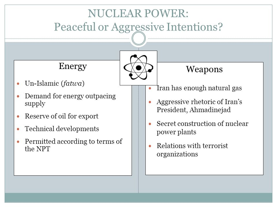 NUCLEAR POWER: Peaceful or Aggressive Intentions? Energy Un-Islamic (fatwa) Demand for energy outpacing supply Reserve of oil for export Technical dev