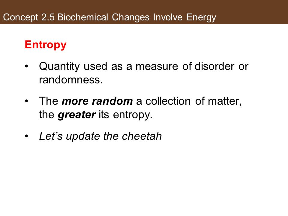 Concept 2.5 Biochemical Changes Involve Energy Entropy Quantity used as a measure of disorder or randomness. The more random a collection of matter, t