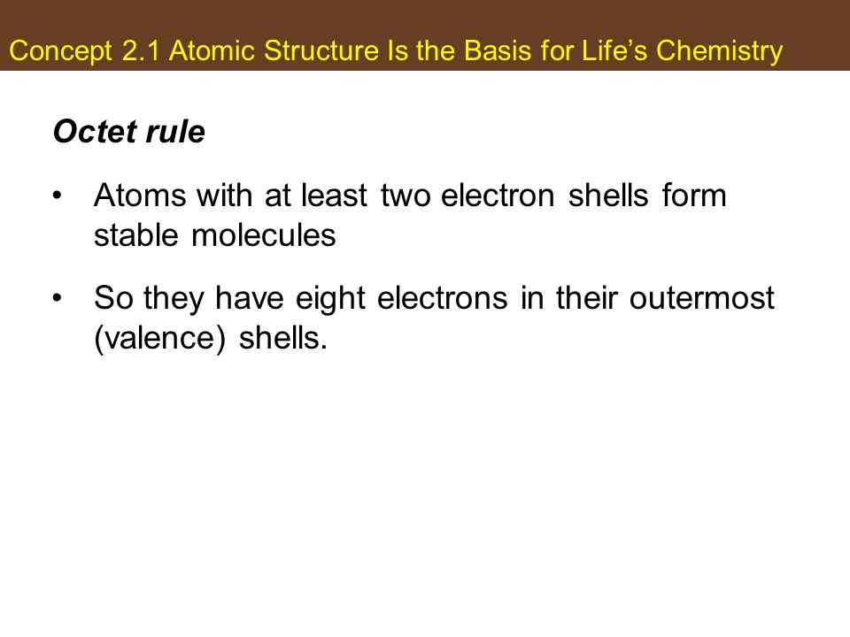 Concept 2.1 Atomic Structure Is the Basis for Lifes Chemistry Octet rule Atoms with at least two electron shells form stable molecules So they have ei