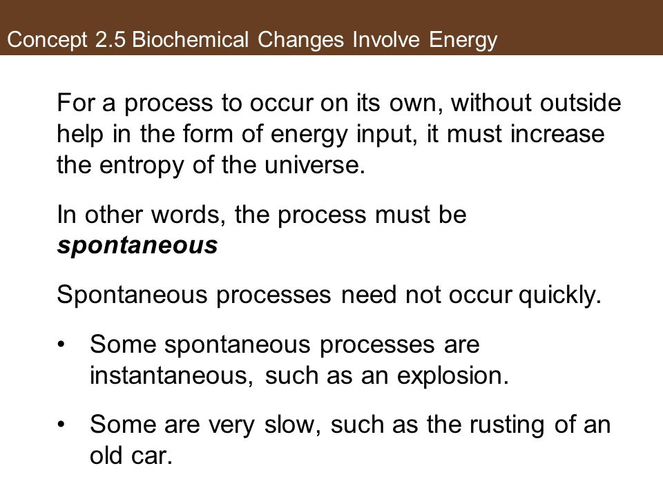 Concept 2.5 Biochemical Changes Involve Energy For a process to occur on its own, without outside help in the form of energy input, it must increase t