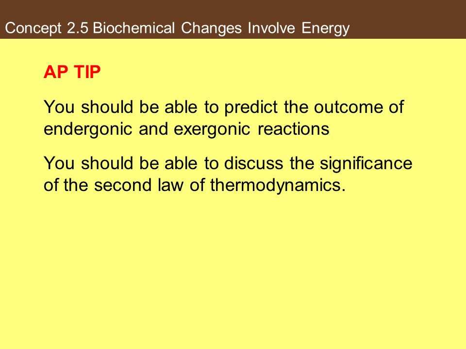 Concept 2.5 Biochemical Changes Involve Energy AP TIP You should be able to predict the outcome of endergonic and exergonic reactions You should be ab
