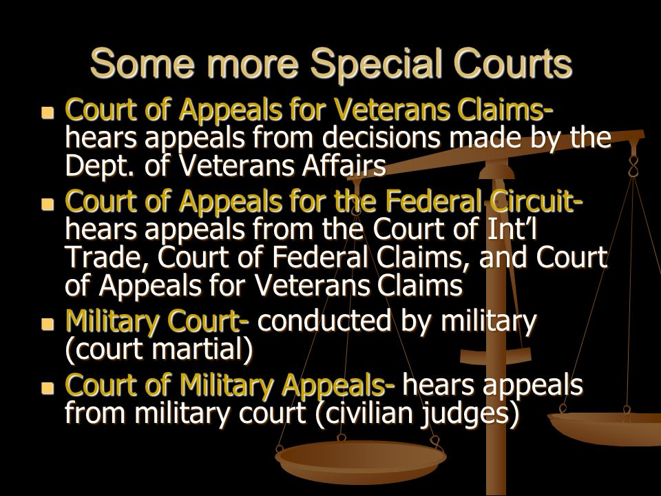 Some more Special Courts Court of Appeals for Veterans Claims- hears appeals from decisions made by the Dept. of Veterans Affairs Court of Appeals for