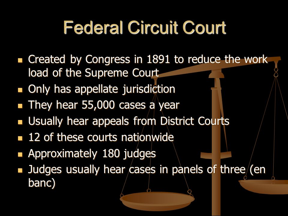 Federal Circuit Court Created by Congress in 1891 to reduce the work load of the Supreme Court Created by Congress in 1891 to reduce the work load of