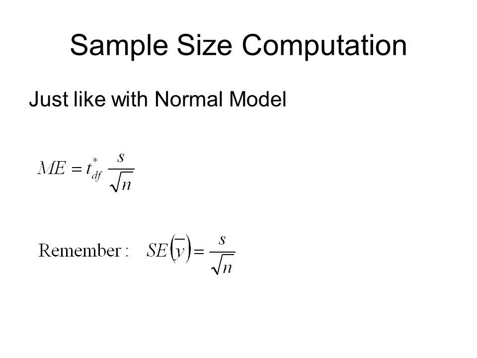 Sample Size Computation Just like with Normal Model