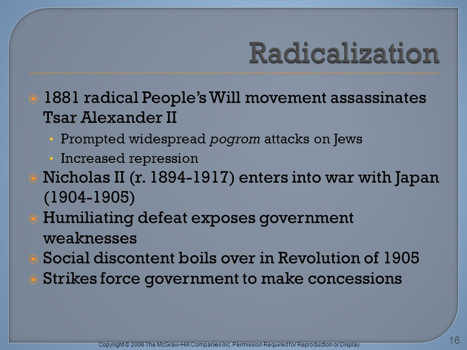 Copyright © 2006 The McGraw-Hill Companies Inc. Permission Required for Reproduction or Display. 1881 radical Peoples Will movement assassinates Tsar