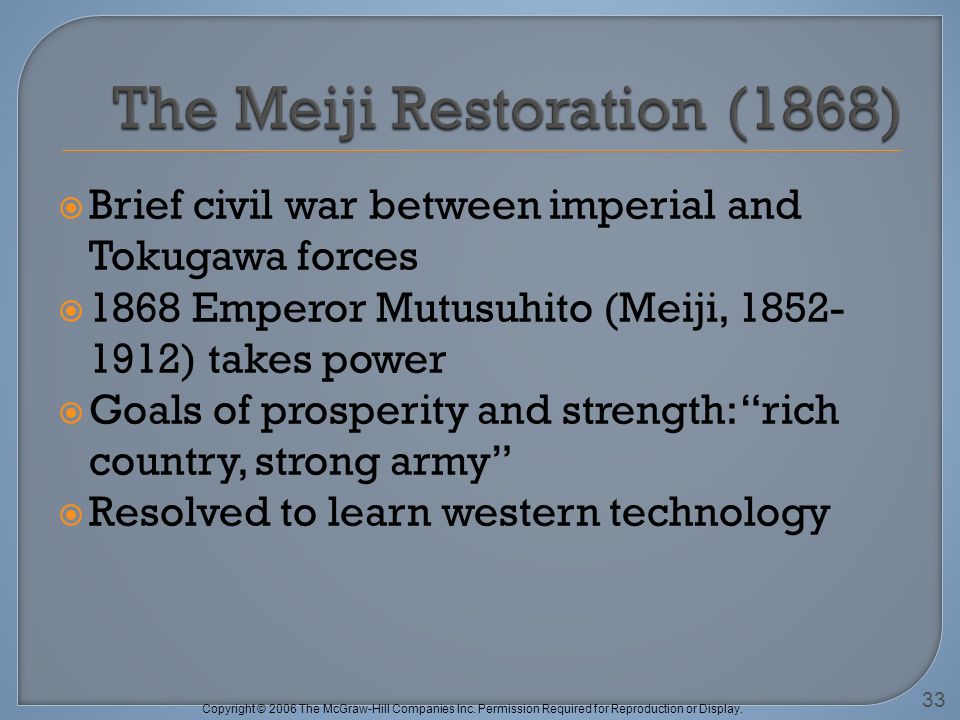 Copyright © 2006 The McGraw-Hill Companies Inc. Permission Required for Reproduction or Display. Brief civil war between imperial and Tokugawa forces