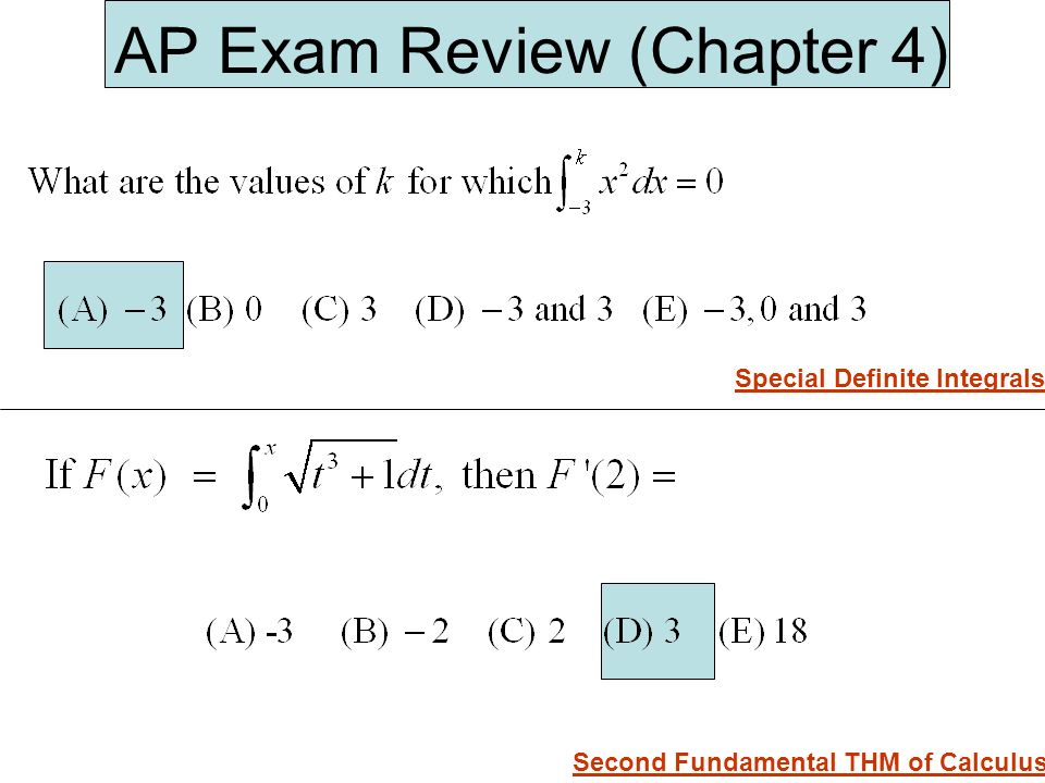 AP Exam Review (Chapter 4) Special Definite Integrals Second Fundamental THM of Calculus