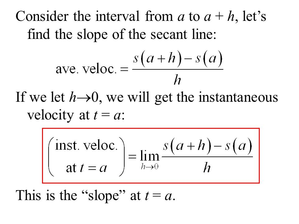 Consider the interval from a to a + h, lets find the slope of the secant line: If we let h 0, we will get the instantaneous velocity at t = a: This is the slope at t = a.