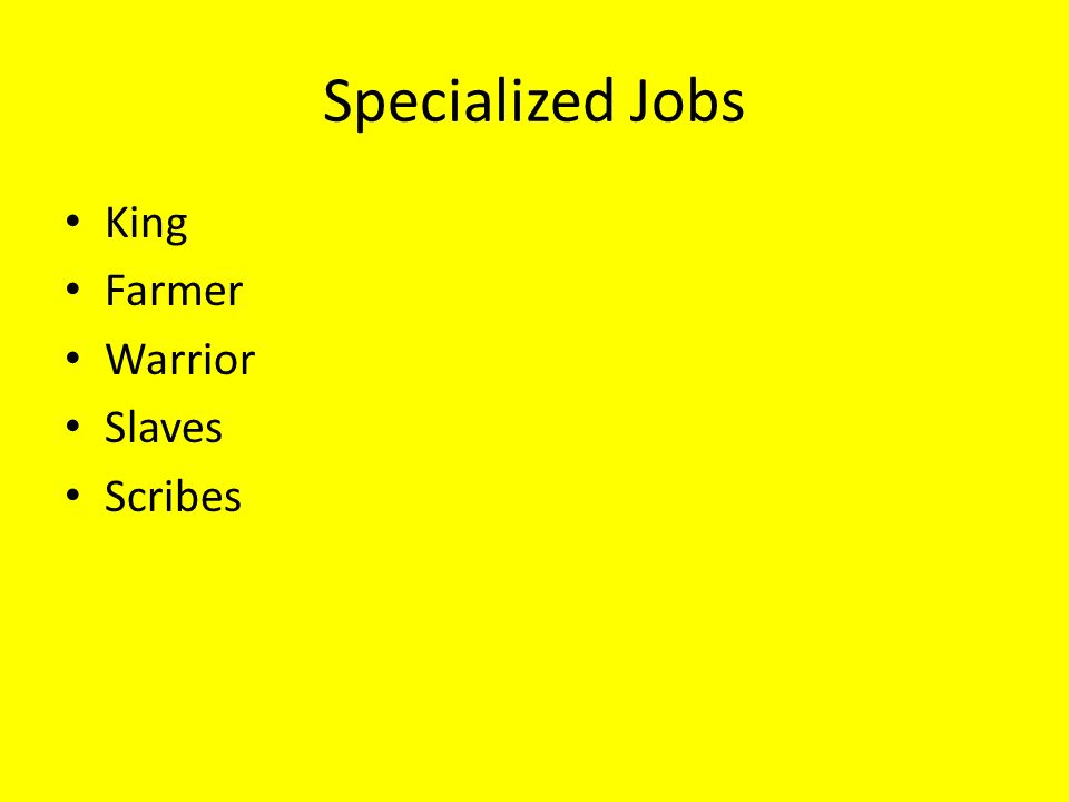 Specialized Jobs King Farmer Warrior Slaves Scribes