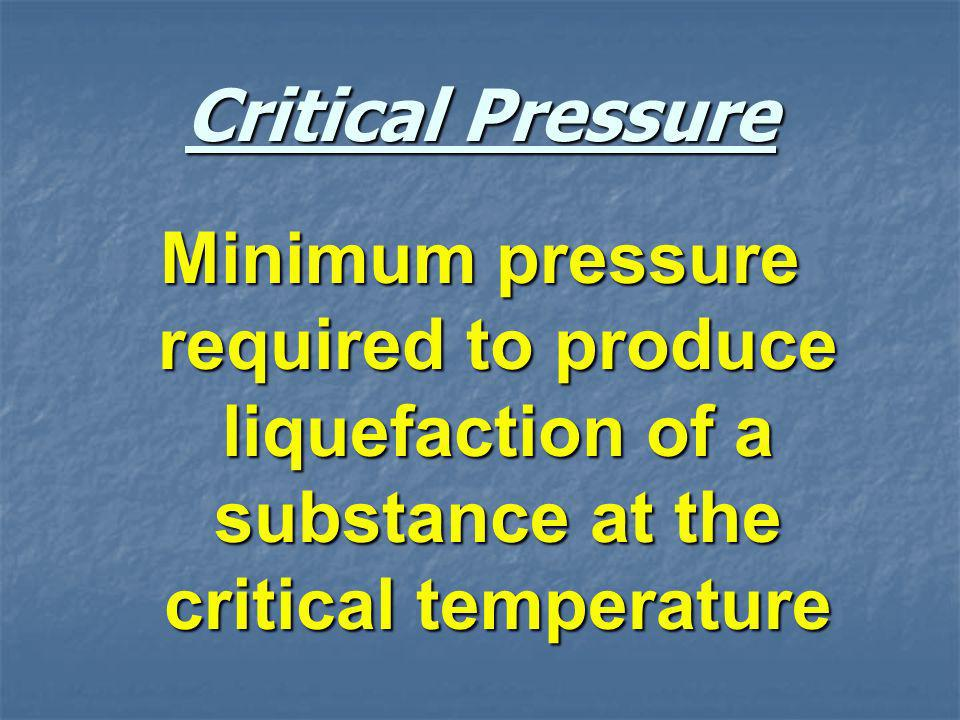 Critical Pressure Minimum pressure required to produce liquefaction of a substance at the critical temperature