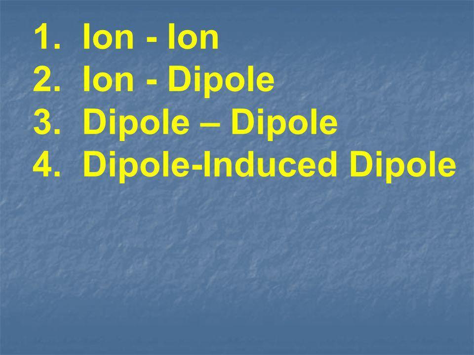 1. Ion - Ion 2. Ion - Dipole 3. Dipole – Dipole 4. Dipole-Induced Dipole