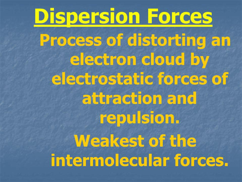 Dispersion Forces Process of distorting an electron cloud by electrostatic forces of attraction and repulsion. Weakest of the intermolecular forces.