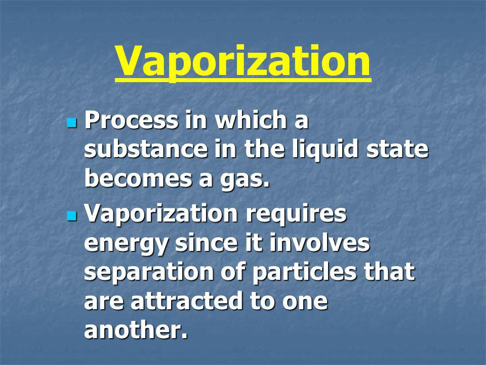 Vaporization Process in which a substance in the liquid state becomes a gas. Process in which a substance in the liquid state becomes a gas. Vaporizat