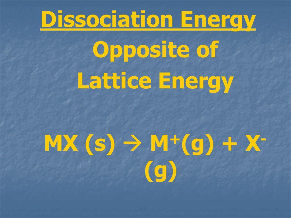 Dissociation Energy Opposite of Lattice Energy MX (s) M + (g) + X - (g)