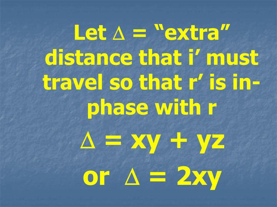 Let = extra distance that i must travel so that r is in- phase with r = xy + yz or = 2xy