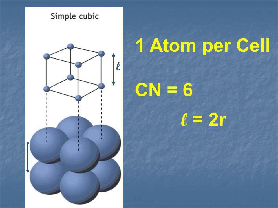 1 Atom per Cell CN = 6 l = 2r l