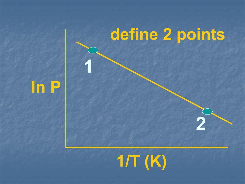 ln P 1/T (K) define 2 points 1 2