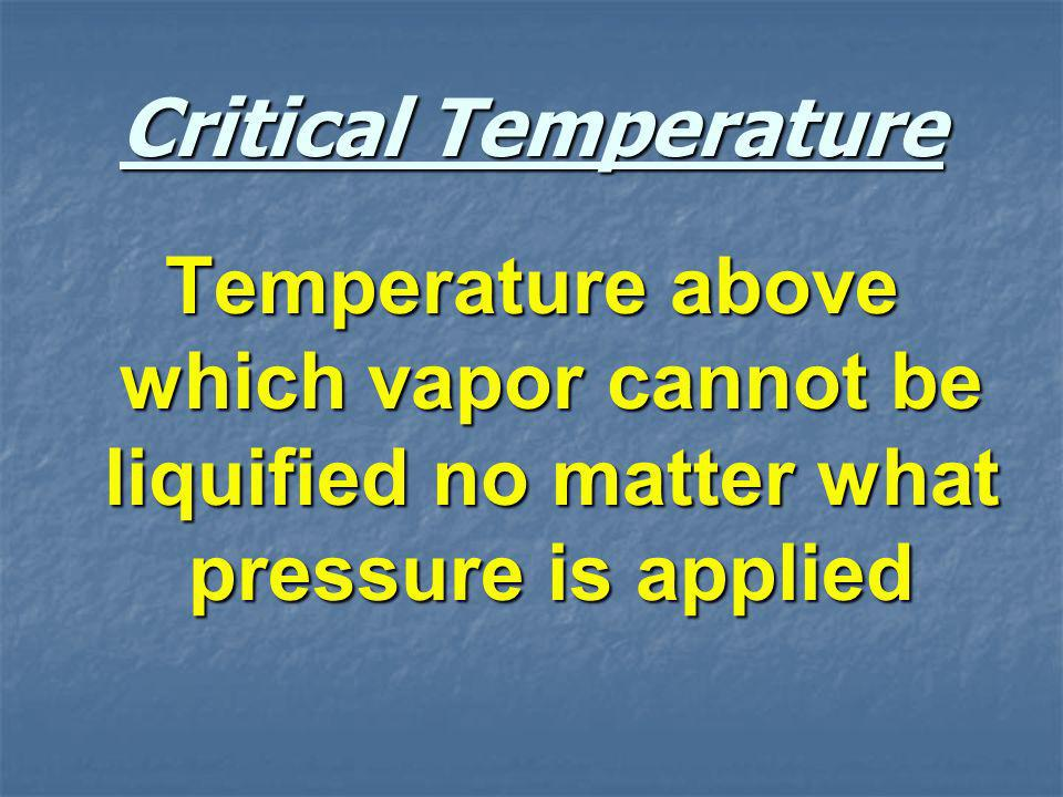 Critical Temperature Temperature above which vapor cannot be liquified no matter what pressure is applied