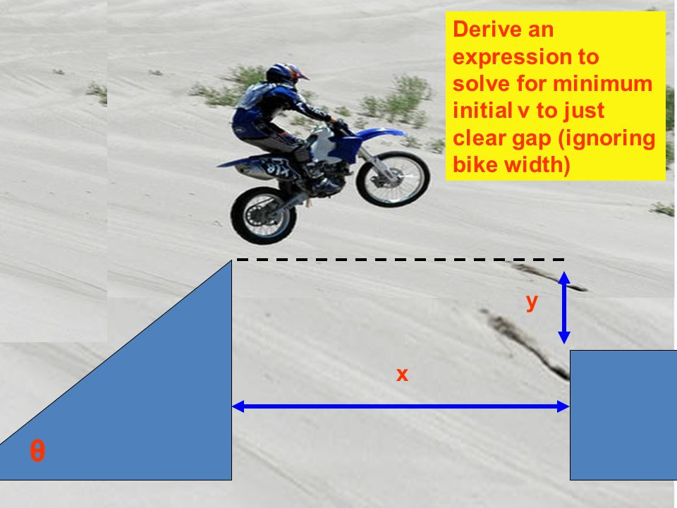 y x Derive an expression to solve for minimum initial v to just clear gap (ignoring bike width) θ