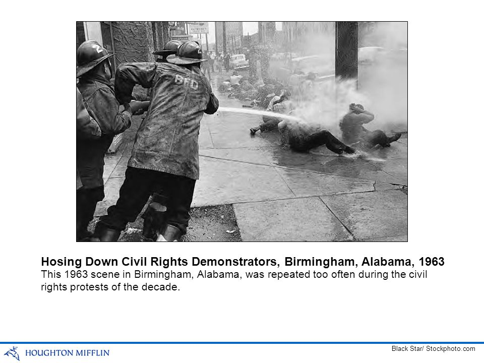 This 1963 scene in Birmingham, Alabama, was repeated too often during the civil rights protests of the decade. Hosing Down Civil Rights Demonstrators,