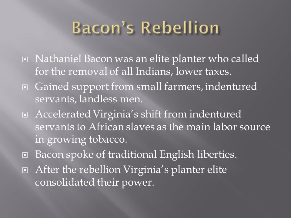 Nathaniel Bacon was an elite planter who called for the removal of all Indians, lower taxes. Gained support from small farmers, indentured servants, l
