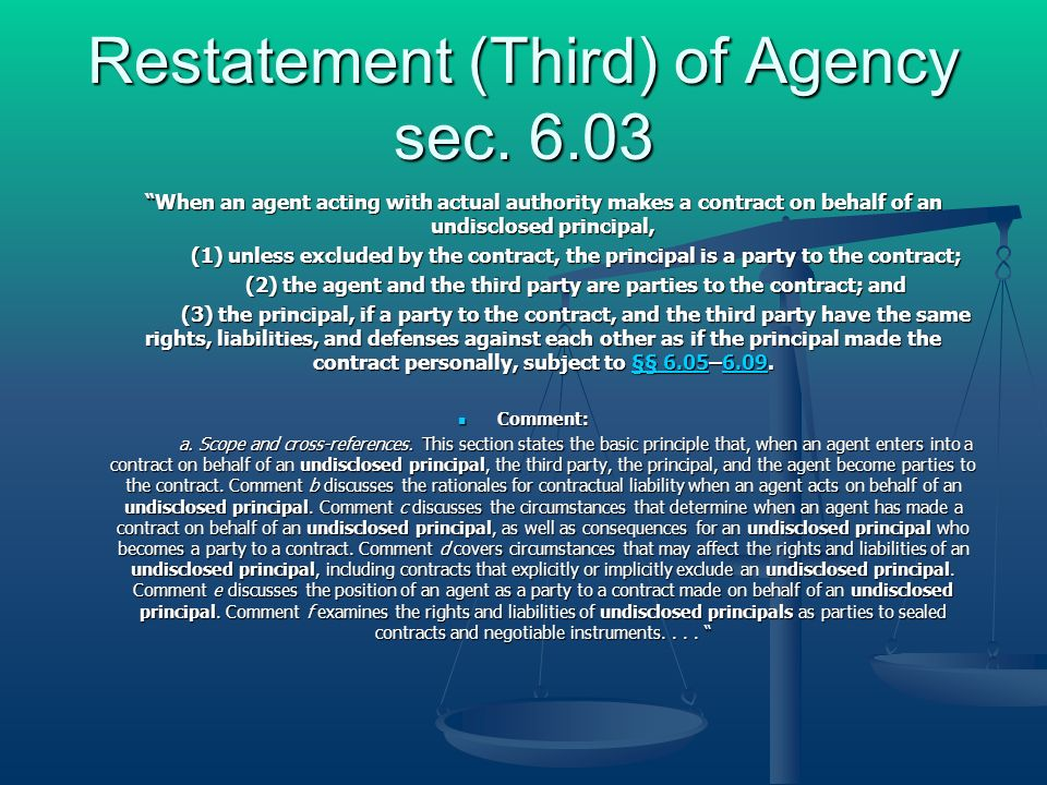 Restatement (Third) of Agency sec.