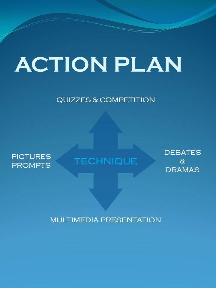 ACTION PLAN TECHNIQUE QUIZZES & COMPETITION MULTIMEDIA PRESENTATION DEBATES & DRAMAS PICTURES PROMPTS