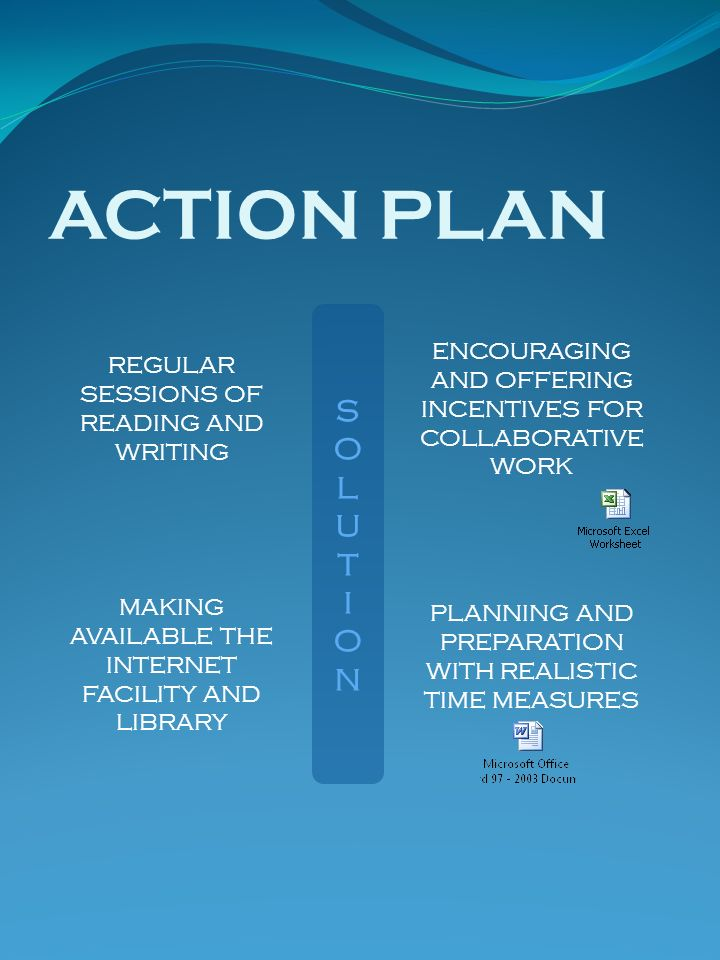 ACTION PLAN SOLUTIONSOLUTION REGULAR SESSIONS OF READING AND WRITING ENCOURAGING AND OFFERING INCENTIVES FOR COLLABORATIVE WORK MAKING AVAILABLE THE I