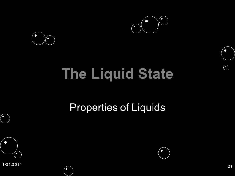 1/21/2014 21 The Liquid State Properties of Liquids