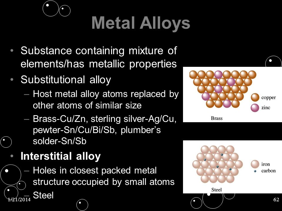 1/21/201462 Metal Alloys Substance containing mixture of elements/has metallic properties Substitutional alloySubstitutional alloy – –Host metal alloy