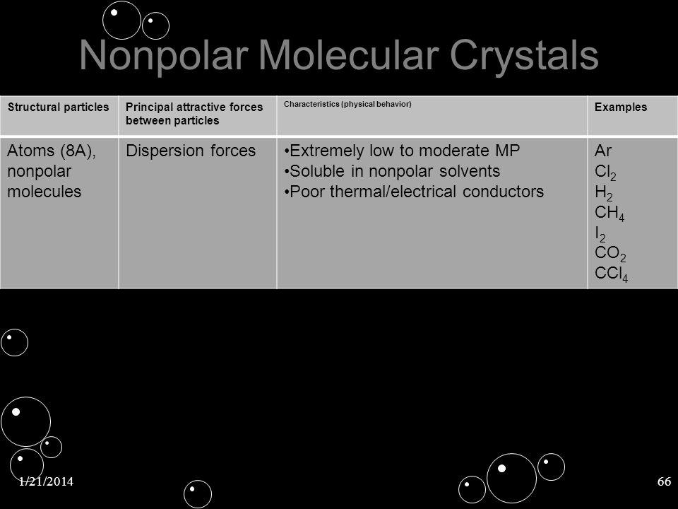 1/21/201466 Nonpolar Molecular Crystals Structural particlesPrincipal attractive forces between particles Characteristics (physical behavior) Examples