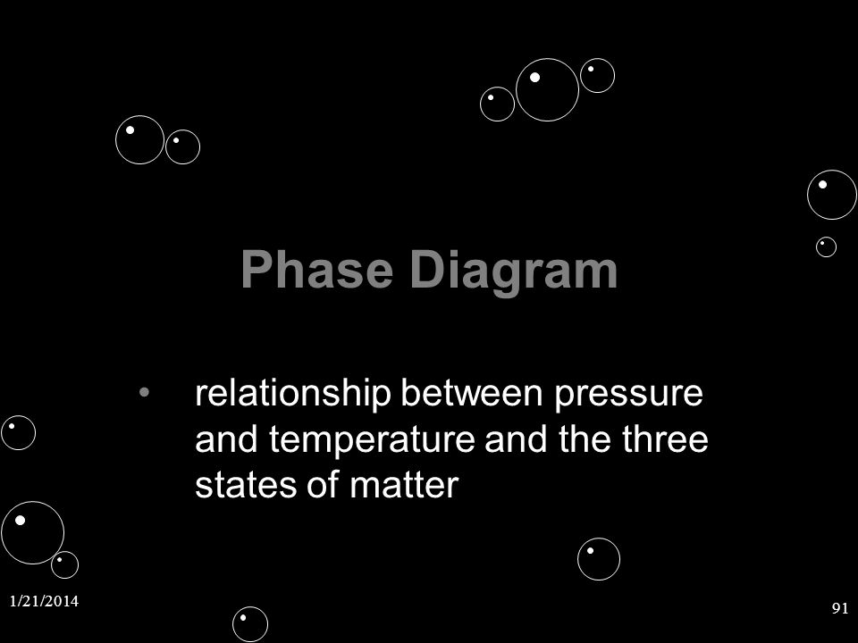 1/21/2014 91 Phase Diagram relationship between pressure and temperature and the three states of matterrelationship between pressure and temperature a