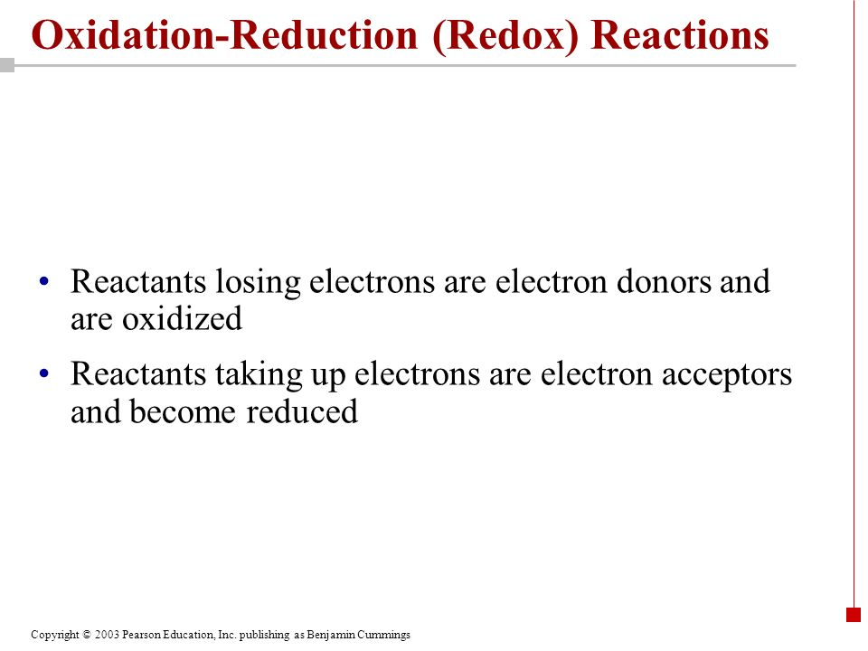 Copyright © 2003 Pearson Education, Inc. publishing as Benjamin Cummings Oxidation-Reduction (Redox) Reactions Reactants losing electrons are electron