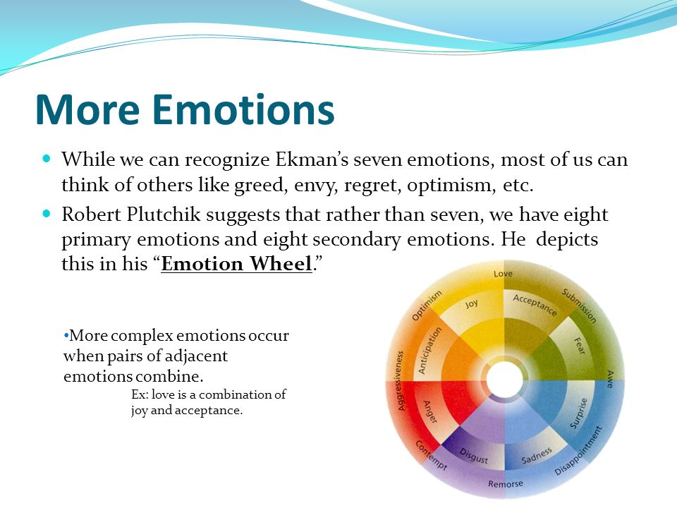 More Emotions While we can recognize Ekmans seven emotions, most of us can think of others like greed, envy, regret, optimism, etc. Robert Plutchik su