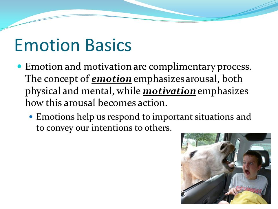 Emotion Basics Emotion and motivation are complimentary process. The concept of emotion emphasizes arousal, both physical and mental, while motivation