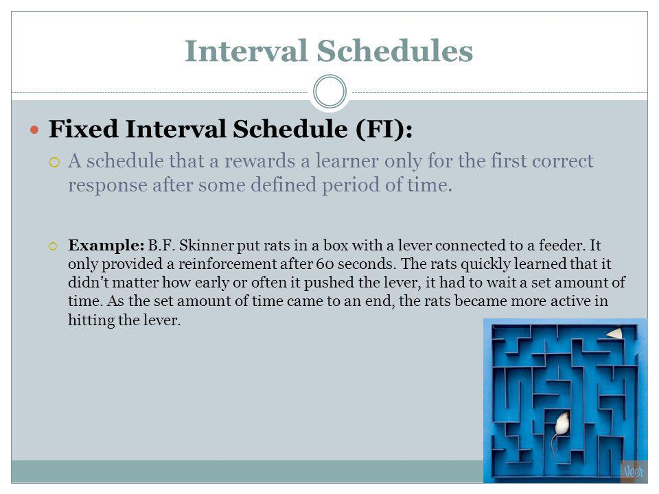 Interval Schedules Fixed Interval Schedule (FI): A schedule that a rewards a learner only for the first correct response after some defined period of