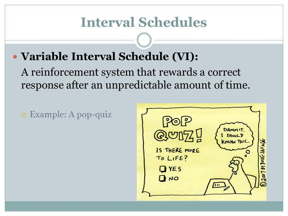 Interval Schedules Variable Interval Schedule (VI): A reinforcement system that rewards a correct response after an unpredictable amount of time. Exam