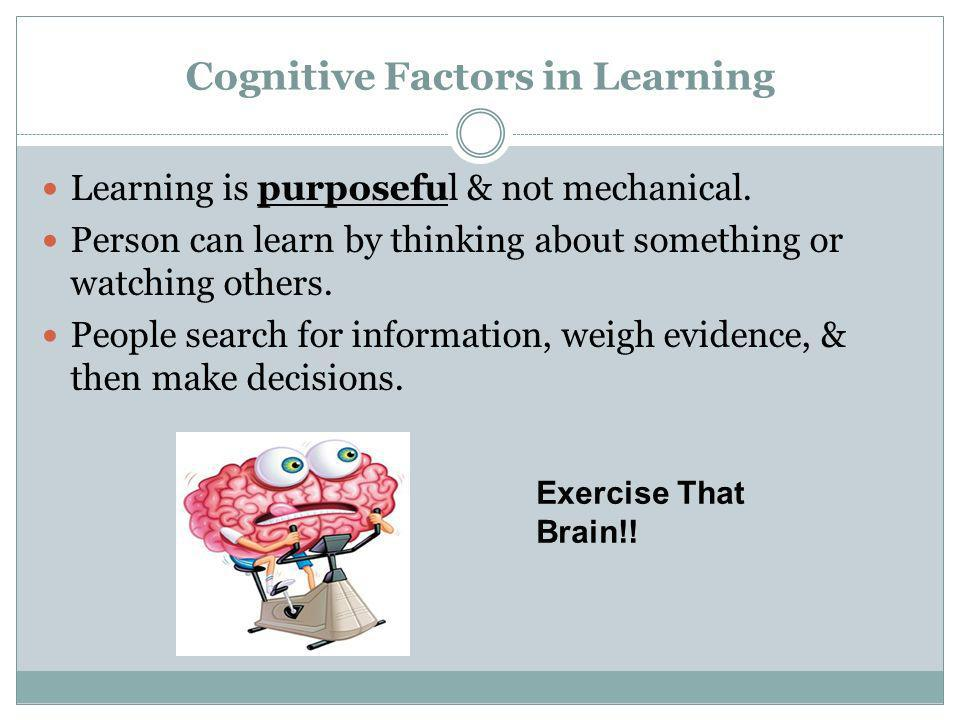 Cognitive Factors in Learning Learning is purposeful & not mechanical. Person can learn by thinking about something or watching others. People search