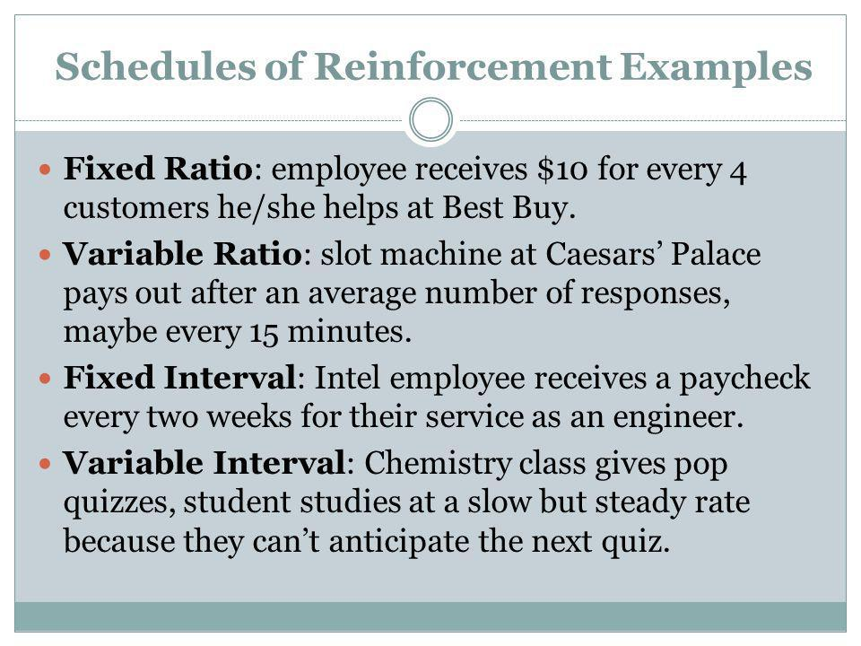 Schedules of Reinforcement Examples Fixed Ratio: employee receives $10 for every 4 customers he/she helps at Best Buy. Variable Ratio: slot machine at