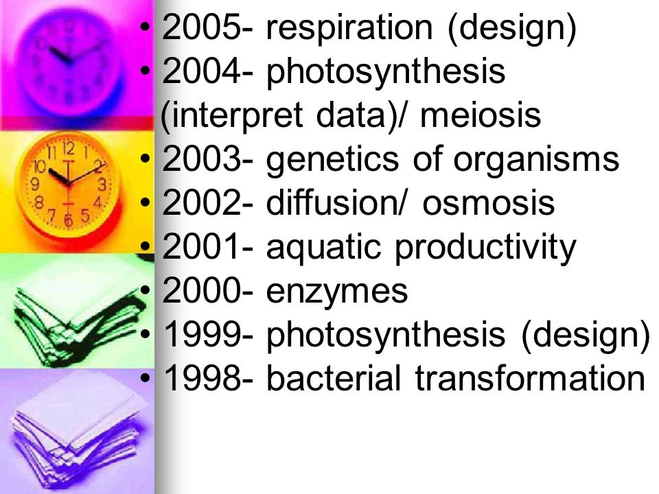 2004- photosynthesis (interpret data)/ meiosis genetics of organisms diffusion/ osmosis aquatic productivity enzymes photosynthesis (design) bacterial transformation respiration (design)